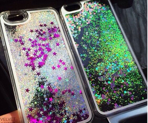cases, glitter, and green image