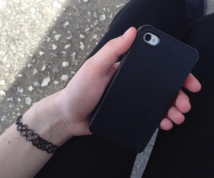 black, choker, and iphone image