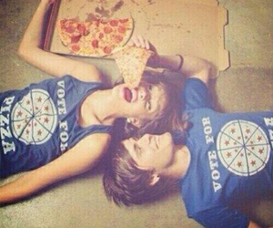 pizza, couple, and relationship goals image