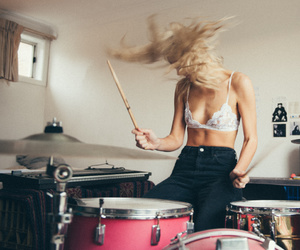 drums, girl, and grunge image