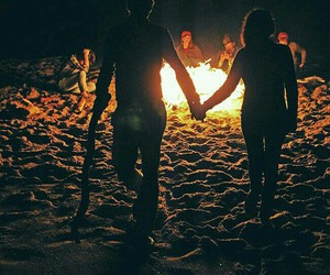 couple, love, and fire image