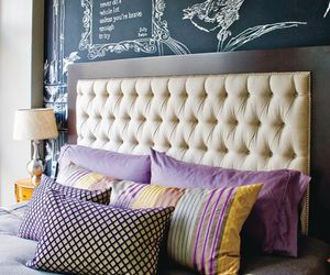 bedroom, decor, and purple image