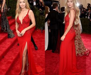 gigi hadid, model, and red dress image