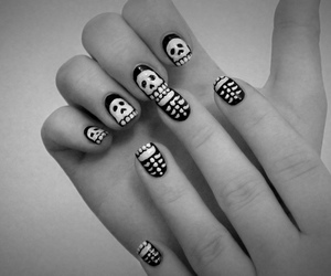 nails, skull, and black image