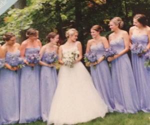 bridesmaids, dresses, and purple image