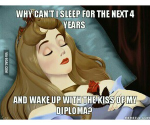 diploma, funny, and sleep image
