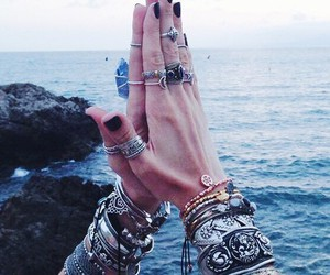 rings, bracelet, and sea image