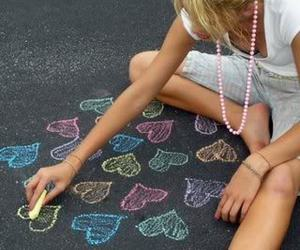 blue, chalk, and girl image