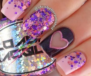 nails, glitter, and heart image
