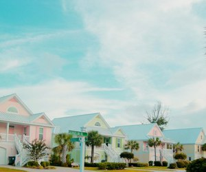 palmtrees, pastel, and sky image