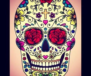 skull, sugar skull, and cross image