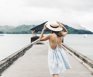 beach, dress, and girl image