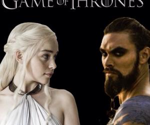 game of thrones, daenerys targaryen, and khal drogo image