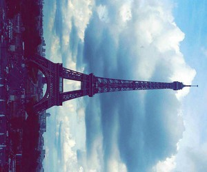 city, effeil tower, and clouds image