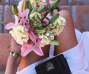 bag, fashion, and flowers image