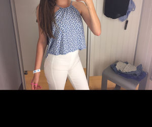 floral top, cute outfit marshals, and high waisted white pants image