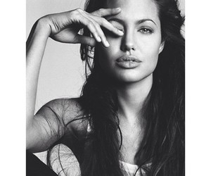 Angelina Jolie, black and white, and lips image