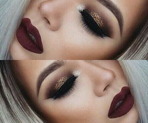 black, make up, and red image