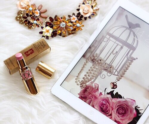 lipstick, ipad, and necklace image