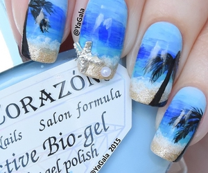beach, blue nails, and palm trees image