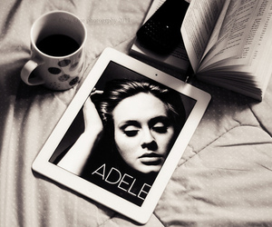 Adele, book, and black and white image