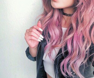 black, curly hair, and pink image