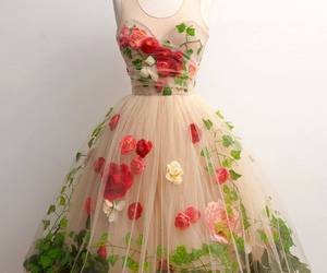 dress, flowers, and rose image