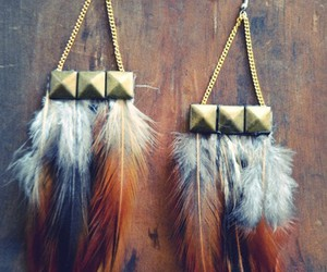 fashion, feather, and earrings image