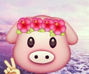 peace, emoji, and pig image