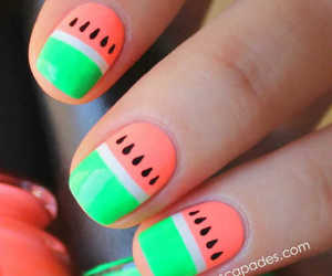 nails, watermelon, and nail art image