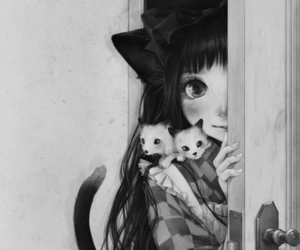 cat, girl, and kawaii image
