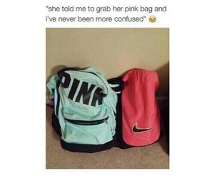 funny, pink, and bag image