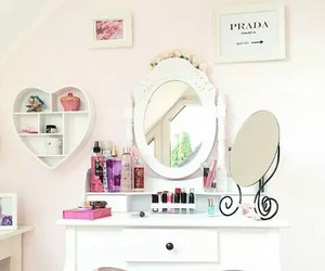 girly, makeup, and bedroom image
