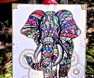 elephant and painting and drawing image