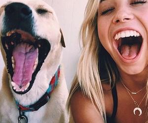 dog, girl, and smile image