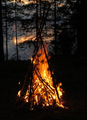 blue sky, camping, and fire image