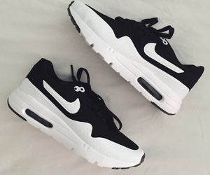 nike, black and white, and shoes image