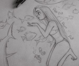 girl, art, and fish image
