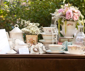 flowers, romantic, and tea time image