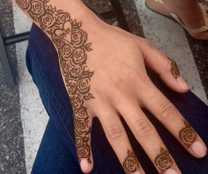 art, hand, and henna image