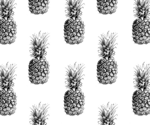 background, black & white, and pineapple image