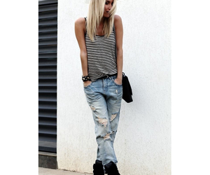 boyfriend jeans, fashion, and outfit image
