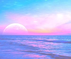 beach, moon, and ocean image