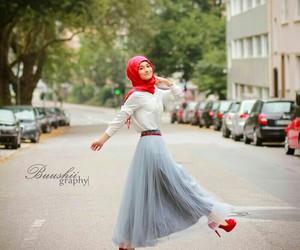 hijab, muslim, and red image