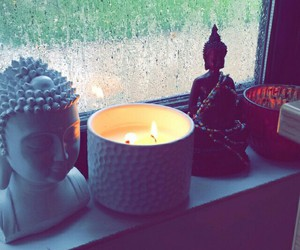 budha, candle, and rain image