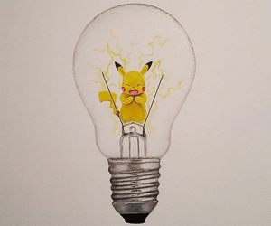 pikachu, pokemon, and light bulb image