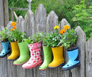 flowers, boots, and garden image