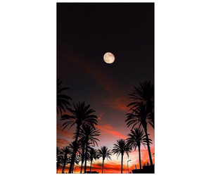 background, sunset, and moon image