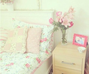 flowers, room, and bed image