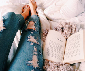 book, jeans, and bed image